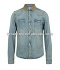 Mens long sleeve denim shirt with light brown corduroy top collar