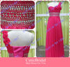 Custom Made Beaded Waist Flower One-shoulder Hot Pink Evening Dress Floor Length Chiffon Gown