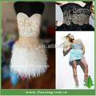 Fashion strapless white and gold beaded feather prom dress