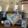 Luxury applique flying airplane bedding set boy