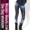 Blue space galaxy legging