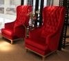 CH-HB2001 Hotel Chair with crystal buttons,hign wing back chair ,wing back chair ,