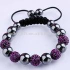 Shamballa Bracelet Micro Pave CZ 10mm Beads black color cord handmade bracelet