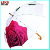 Fashion lady umbrella with flower pattern by heat transfer print