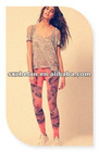 2012 popular cotton jersey printed legging pants trouser for women