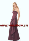 New Style Off-shoulder Satin Brown Bridesmaid Dress