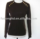 100% cashmere ladies round neck sweater with metal button