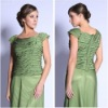 Spring Fashion Bateau Neck Cap Sleeves Chiffon New Style Dress for Mother of Bride