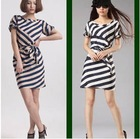 The new and unique spin silk self striped collar dress