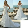 2012 Off the Shoulder Top A line Satin Beaded grecian Wedding Dresses