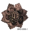 pu leather flower brooch