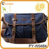 blue canvas teen messenger bags with leather trim