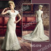 Sexy WG-019 White High-Neck Short-Sleeve Beaded Court Train Mermaid Lace Wedding Dress Bridal Gown