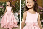 Beautiful Spaghetti Strap Pink Satin Flower girl dress