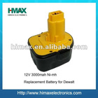 12V 3000mAh Nimh Replacement Battery for Dewalt