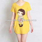 Bright color organic cotton t shirt with lovely cartoon girls printed pattern