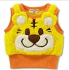 Animal pattern embroidery thick winter vest for children