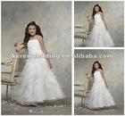 White Organza Tiered Ruched Floor Length Flower Girls Dress