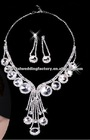 Hot sale rhinestone bridal jewelry wedding accessories elegant necklace and earring sets CWFan4908