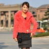 Ladies sheared rabbit fur suitcase with fox fur collar