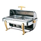 (SF4001-2) 9L golden plated rectangle roll top electric chafing dish