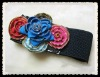 elastic wide waistband with colorful zipper flower