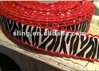 """7/8"""" Black and White Zebra with RED Moonstitch Ribbon"""