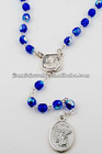 Glass bead rosary necklace with religious pendant