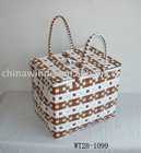 straw storage basket with handle