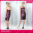 AZ0571 Beading Strapless Ruffle Sheath Taffeta knee length mother of the bride dresses