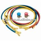 Set Of 3 Flexible Hoses Whit Shut Off Ball Valves For R410A / R407C / R22