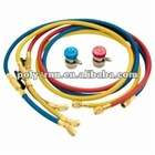 Set Of 3 Flexible Hoses Whit Shut Off Ball Valves For R410A / R407C / R22