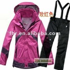 MOQ 1 piece women warm outdoor outwear winter ski jacket and pants set ladies coat brand removable liner
