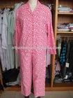 leopard printed flannel pajamas, ladies cotton pyjamas, long sleeves pyjamas
