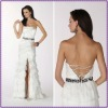 Charming Sleeveless Sheath Long Slit Beaded Satin And Organza White Evening Dress 2012