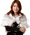 Natural color cross mink tail knitted fur cape YR-185