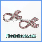 Metal Charm Rhinestone Connector Wholesale Fashion Breast Cancer Awareness Pink Ribbon Beads For Jewelry OMC-009A