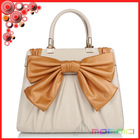 famous brand white real leather with big orange bowknot fashion designer ladies handbag party bag