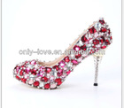 BS603 red crystal party evening shoes,rhinestones bridal wedding shoes