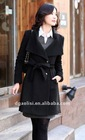 lady erect collar belted wool coat