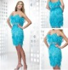 SK5800 high quality designer elegant beaded feathers cocktail dress