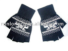 knitted half finger gloves with printed-RL-GL035