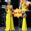 DORISQUEEN hot sale fashion elegant yellow one shoulder bridemaid dresses free shipping
