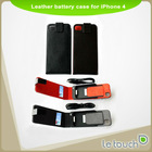 LETOUCH Leather Battery Case for iPhone 4(S) 2000mAh High Capacity