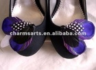 Charming Feathered Shoe Clips Wholesale Peacock Decorations Adorned On High Heel SC063