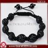KS0018 2012 Wholesales men's black crystal ball with two hematite ball beaded bracelet