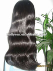 Fashion wigs in stocking 20 inches 1# jet black light wave 100% Indian remy full lace wigs