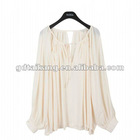 women's unwrinkled long sleeve sheer blouses(H303D) /plus size clothig/women clothing