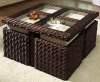 outdoor rattan cube set