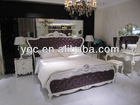 Euro Neo- classical style blue color Leather and wooden carving bed 9255-1